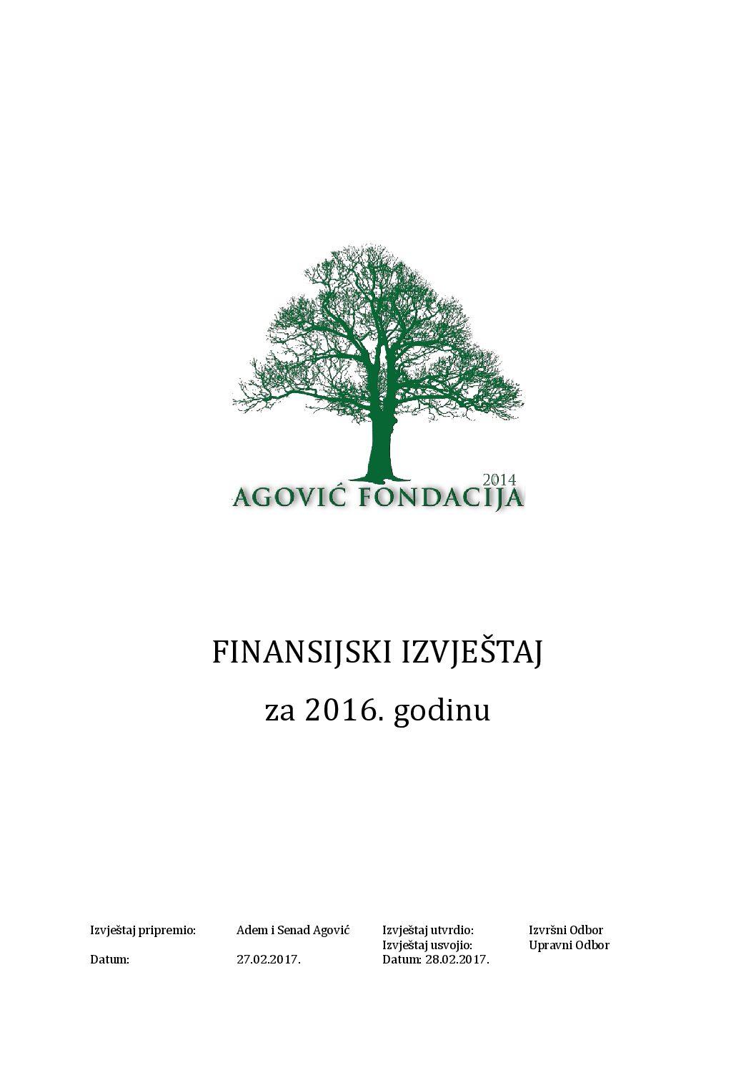 FINANSIJSKI IZVJEŠTAJ za 2016. godinu
